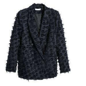 NWT H&M DOUBLE BREASTED TEXTURED BLAZER SIZE: 10